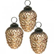 Acorn glass golden vintage deco cones Juletrepynt 5.5 × 8cm 12stk
