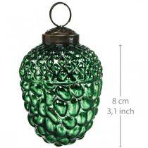 Acorn glass grønn høstpynt kegler Juletrepynt 5,5 × 8cm 12stk