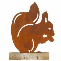 Ekorn patina på trebunnen 19cm x 25cm