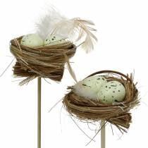 Dekorativ plugg fuglerede, påskedekorasjon, rede med egg 23cm 6stk