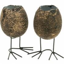 Eggeskall for beplantning med ben, påskeegg, egg med fuglefot, påskedekorasjon svart gylden 4stk