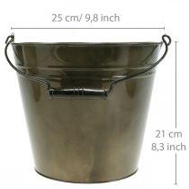 Metallbøtte, plantepotte, metallkar Ø25cm H21cm