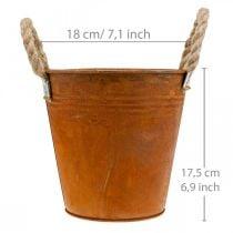 Plantegryte med patina, metallkar, høstdekorasjon Ø18cm H17,5cm