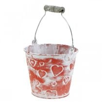 Dekorativ bøtte hjerte dekor, metallkar, Valentinsdag, håndtak bøtte Ø12cm