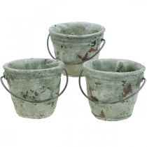Bøtte for planting, keramisk kar, bøttepynt antikk optikk Ø11,5cm H10,5cm 3stk