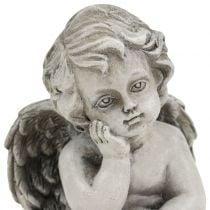Dekorativ engel i grå sittende 13,5cm 2stk