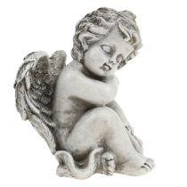 Minnefigur sovende engelgrå 16cm 2stk
