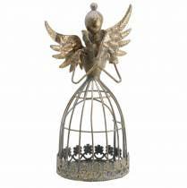 Dekorativt engelmetall antikk gull Ø9,2 H22cm