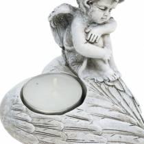 Gravdekorasjon telysholder engel 10cm 2stk