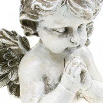 Bønnende engel, begravelse blomster, byste av engelfigur, gravdekorasjon H19cm B19,5cm