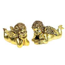 Engel med bok liggende gull 11-13cm 4stk