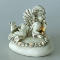 Dekorativ engel på hjertet med LED 16cm 19cm H14,5cm