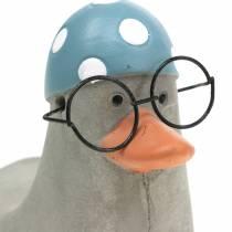 Dekorativ and med briller og badehette grå 10,5cm 4stk