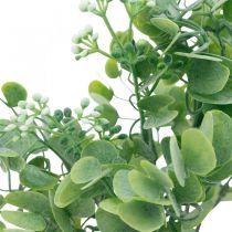 Bryllupsdekorasjon Kunstige eukalyptusgrener med blomster Dekorativ bukett grønn, hvit 26cm