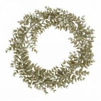 Dekorativ krans kunstig eukalyptus gylden, snødekt Ø36cm