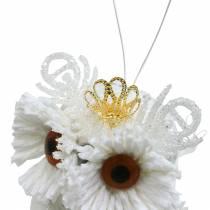 Dekorativ ugle med krone for å henge hvit, glitter 6,5 × 8 cm 6stk.