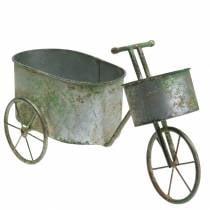 Urtepottesykkel sinkgrå, grønn 40 × 14 × 21cm