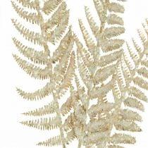 Dekorativ bregne kunstig plante gull, glitter julepynt 74cm