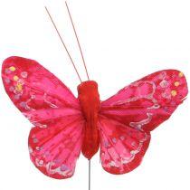 Fjærsommerfugl oransje-rød 5cm 24stk