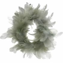 Dekorativ fjærkrans grå Ø18cm påskedekorasjon ekte fjær