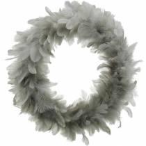 Påskedekorasjon vårkrans stor lys grå Ø40cm vårdekorasjon ekte fjær