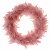 Dekorativ fjærkrans stor mørk rosa påskepynt Ø40cm