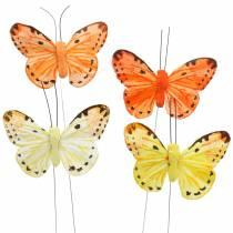 Butterfly gul oransje på wire 7 cm wire 24 stykker