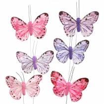 Fjær sommerfugl metalltråd rosa, lilla 7cm 12 s