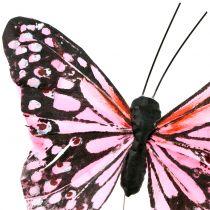 Sommerfugl på tråd rosa 11cm 12stk