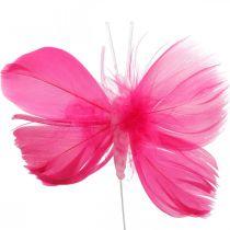 Fjærsommerfugler rosa / rosa / rød, dekorative sommerfugler på en tråd 6stk