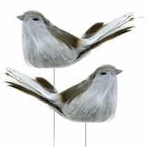 Fjærfugl på trådgrå 12cm 4stk