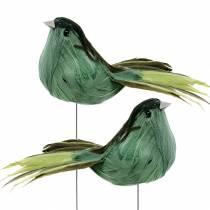 Fjærfugl på trådgrønn 12cm 4stk
