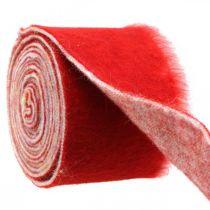 Filtbånddekorasjon tofarget rød, hvit Grytebånd jul 15cm × 4m