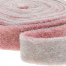Grytehengsel, deco tape ull filt mørk rosa / grå B4.5cm L5m
