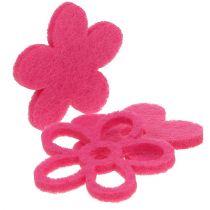 Filt blomst for å strø rosa som pyntesett Ø4cm 72stk