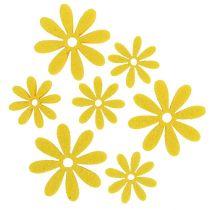 Følte blomster satt i gule 96stk