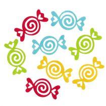 Filt godteri diverse farger 5,5 cm 100p