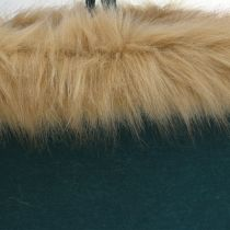 Filtpose med pelskant grønn 38cm x 24cm x 20cm