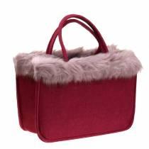 Filtpose med pelskant mørk rød 38cm x24cm x 20cm