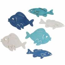 Scatter deco fisk tre hvit, blå, lys blå 4cm 72p