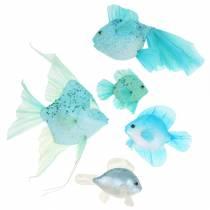 Dekorativ fisk å henge blå turkisgrønn grå 10-22cm 5stk