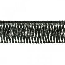 Kantet bånd, kordonettkant, leoniske frynser svart W4cm L25m