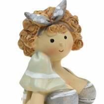 Dekorativ figur dame i badedrakt grå 10cm 2stk