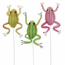 Dekorative frosker med wire 7cm 3stk assortert