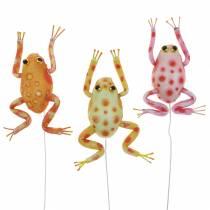 Dekorative frosker med prikker og tråd 7,5 cm 3 stk assortert
