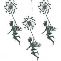 Vårdekorasjon, nisse med løvetann, dekorasjon anheng blomsterfe, metallpynt 3stk