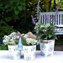 Vårdekorasjon, metallbøtte, plantebøtte blomstermønster, metalldekorasjon H15 / 11 / 9,5 cm sett med 3
