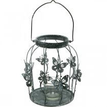 Vårdekorasjon, lykt med sommerfugler, metalllykt, sommer, lysedekorasjon