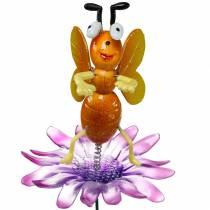 Flower pin bie på blomst med metallfjærer oransje, fiolett H74cm