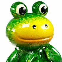 Dekorativ plugghoppende frosk med metallfjærer grønn, gul H65.5cm